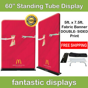 60x92 Fabric Tube Banner Stand Ez Display Tension Double Sided Print Trade Show