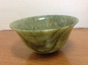 A Fine Antique Chinese Spinach Green Jade Bowl Cup