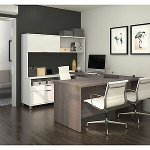 Bestar Pro linea Officepro 120000 U shaped Desk With Hutch And Drawers New New