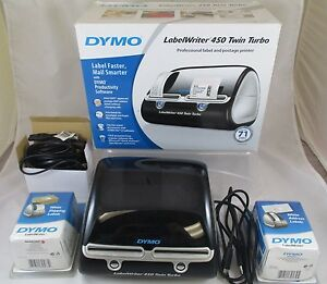 Dymo Label Writer 450 Twin Turbo Postage Printer With 30573 30572 White Labels
