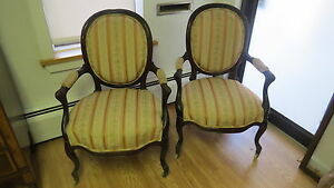 Pair Of Antique Victorian Rosewood Arm Chairs