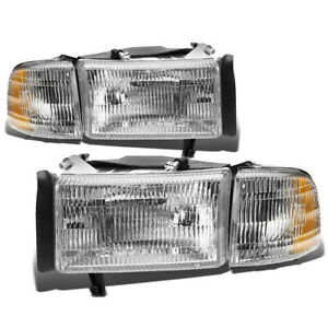 For 1994 2002 Dodge Ram 1500 2500 3500 Pair Headlight Corner Headlamp Chrome