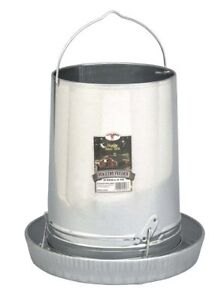 Hanging Poultry Gamebird Feeder With Feed Pan 30 Lb Galvanized Steel