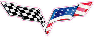Corvette C6 American Flag Emblem Large Decal Is 12 X 5