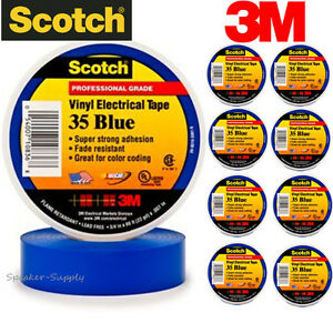 10 Pack 3m 3 4 X 66ft Scotch Vinyl Electrical Electricians Tape Roll 35 Blue Ul