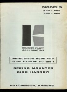 Krause Plow 439 442 655 668 Disc Harrow Owner s Manual Illustrated Parts List
