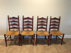 Ethan Allen Baumritter Ladderback Reed Side Chairs Set Of 4