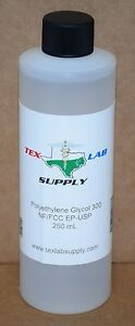 Tex Lab Supply Polyethylene Glycol 300 peg 300 Nf fcc ep usp 250 Ml