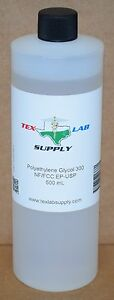 Tex Lab Supply Polyethylene Glycol 300 peg 300 Nf fcc ep usp 500 Ml