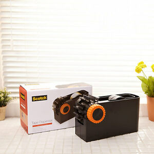 3m Scotch Tape Dispenser Desktop Cutter Tool Tabletop Packing Black Orange