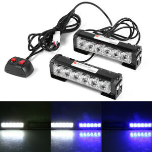 2x 4 Led Car Truck Strobe Flash Light Warning Hazard Emergency Lamp Blue White