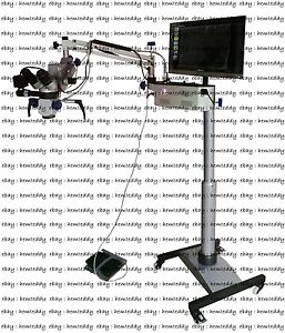 Dental Surgical Microscope 3 Step Beam Splitter ccd Camera led Monitor silver