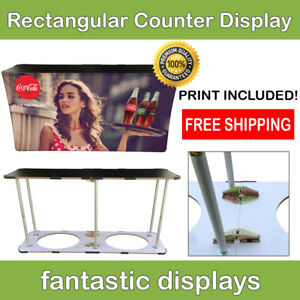 Trade Show Podium Promo Counter Rectangular Folding Pop Up Display For Exhibit