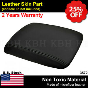 Leather Center Console Lid Armrest Cover Skin Fits Ford Mustang 2005 2009 Black
