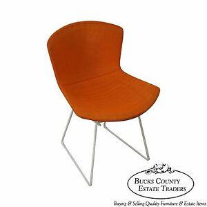 Harry Bertoia For Knoll Vintage White Wire Frame Side Chair W Orange Cover