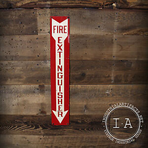 Vintage Industrial Fire Extinguisher Safety Sign