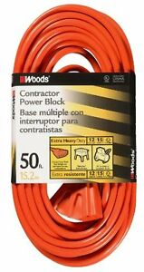 Woods 819 12 3 Outdoor Multi outlet Extension Cord Orange 50 foot