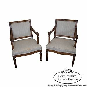 Custom Quality Pair Of Vintage Petite French Louis Xvi Style Arm Chairs