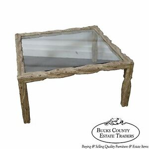 Quality Custom Twisted Faux Branch Square Glass Top Coffee Table