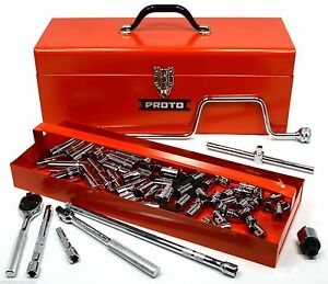 Brand New In Toolbox Proto 57pc Socket Wrench Set j52226 Metric 3 8 Dr 12 Pt