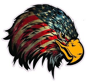 Weathered American Flag Eagle Head V2 Decal 5 Free Shipping