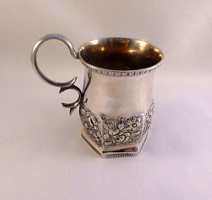 Sam Kirk 10 15 Coin Silver Repousse Decorated Handled Cup 4