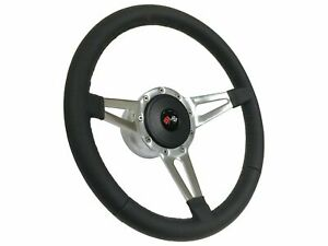 1957 1968 Chevy S9 Leather Steering Wheel Cross Flags Kit Slotted 3 Spoke