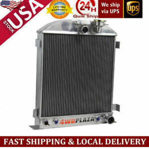 3 Row Core Aluminum Radiator For Chevy Engine Ford Grill Shells 3 1939 1940