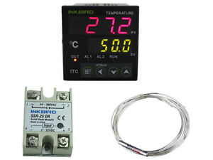 Digital Temperature Controller Pid Heat Cool Thermostat 110 240v Pt100 25a Ssr