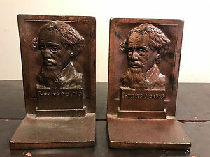 Antique Charles Dickens Art Statue Sculpture Cast Iron Bronze Bust Bookends
