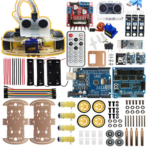For Arduino Robot Car Kit Ble4 Autonomous 4wd Avoid Ir Line Tracking Ios Android