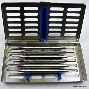 6 Gold Composite Dental Filling Instrument With Tray Probe Spatula Plugger Natra
