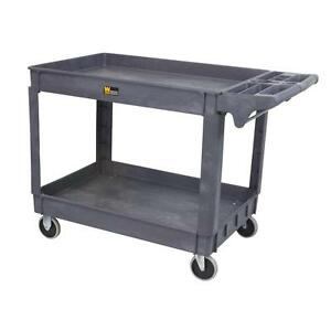 Utility Service Cart Industrial Capacity 500 Lbs Gray 2 Shelves All Purpose