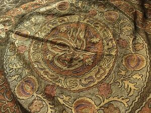 Large Ornate Antique Ottoman Turkish Metallic Embroidery Panel W Tughra Seal