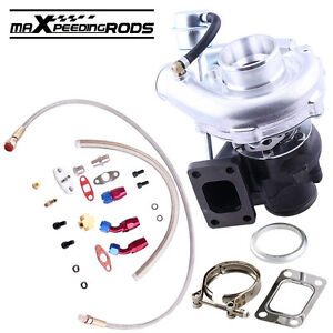 T3 T4 T40e 0 63a r Turbo Charger With Oil Drain Return Feed Line Kits