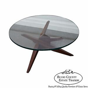 Mid Century Walnut Cubist Splayed Leg Round Glass Top Coffee Table