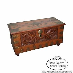 Vintage Anglo Carved Dower Blanket Chest W Brass Boulle Work