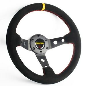 New 330mm Deep Dished Suede Leather Steering Wheel Chrome Bezel With Momo Horn