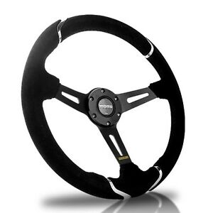 New 340mm Deep Dished Genuine Suede Leather Chrome Racing Steering Wheel W Horn