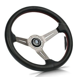 Nardi 14 Black Leather Grey Spoke Red Stitch Deep Dished Steering Wheel W Horn