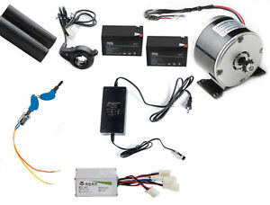 350 W 24 V Electric Motor Kit W Control Thumb Throttle Charger Keylock Batteries