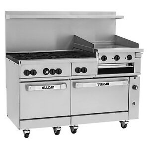 Vulcan 60sc 6b24gb 60 Range 6 Burners 24 Raised Griddle W Convection Oven