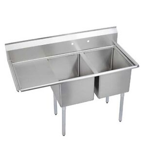 Elkay Foodservice 2 Comp Sink 18 x18 x11 Bowl With 18 Drainboard 18 300 S s
