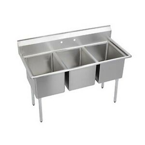Elkay Foodservice 3 Compartment Deli Sink 10 x14 x10 Bowls 16 300 Stainless