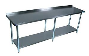 Bk Resources 96 x30 Work Table 18g Stainless Steel Top W 1 5 Rear Riser