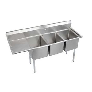 Elkay Foodservice 3 Comp Sink 24 x24 x12 Bowls 16 300 S s With 24 Drainboard