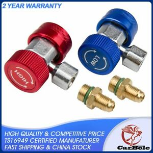 A C R134a Quick Coupler Connector Adapters High Low Manifold Ac Gauge Auto Set