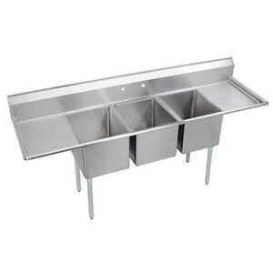 Elkay Foodservice 3 Comp Sink 24 x24 x12 Bowls 16 300 S s Two 24 Drainboards