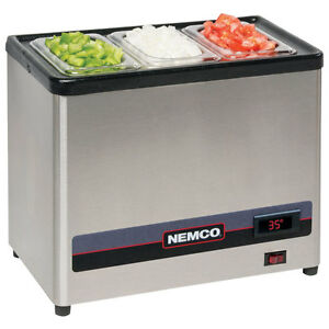 Nemco 9020 3 Countertop Cold Condiment Chiller With 3 1 9 S s Pans