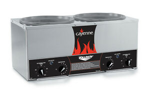 Vollrath 72028 Cayenne Twin 7 Quart Rethermalizer Stainless W Timer 120v